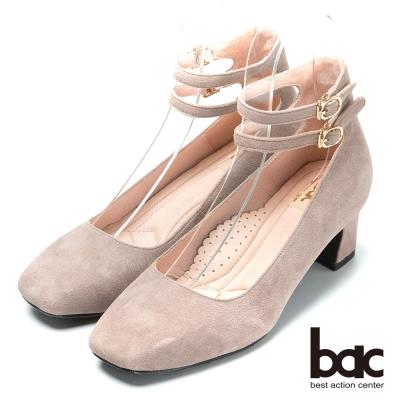 bac台灣製造 嚴選真皮瑪莉珍高跟鞋-灰色