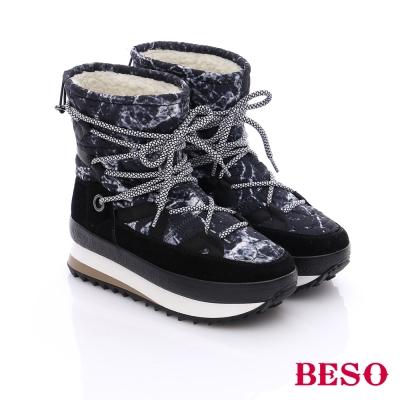 BESO 潮人街頭風 異材質拼接迷彩圖騰短靴  黑色