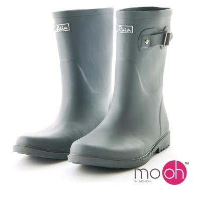 mo.oh 愛雨天-霧面橡膠柔軟搭扣中筒雨鞋-灰