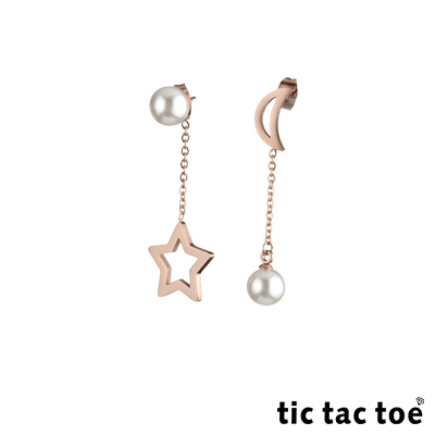 tic tac toe 垂吊式白鋼耳環系列-星月