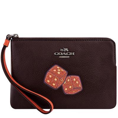 COACH 深咖啡色皮革骰子徽章手拿包