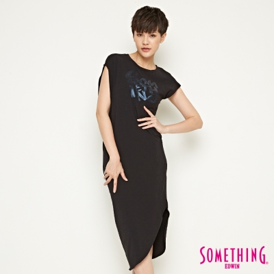 SOMETHING 不對襯修身長版洋裝-女-黑色