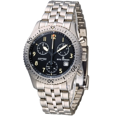 梭曼 REVUE THOMMEN 空中霸王鈦金屬計時腕錶-灰色/38mm