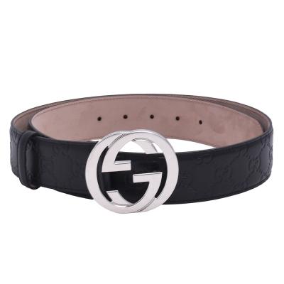GUCCI 經典Guccissima GG壓紋銀釦牛皮腰帶/皮帶(黑)