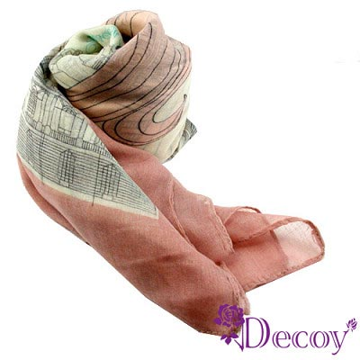 【Decoy】巴黎鐵塔*風格紗質圍巾/粉
