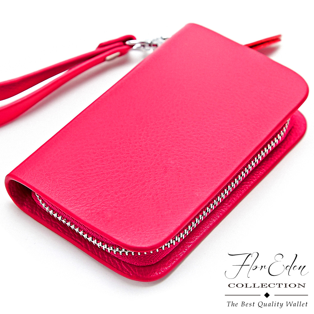DF Flor Eden皮夾 - 優質嚴選真皮款鑰匙零錢包-玫紅