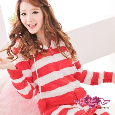 睡衣 淘氣可人 居家柔軟珊瑚絨睡衣組(白紅F) AngelHoney天使霓裳