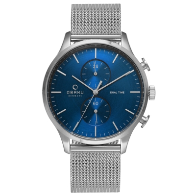 OBAKU 流轉光年雙時區米蘭帶錶款-V196GUCLMC/42mm