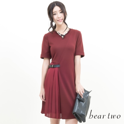 beartwo-設計款拼接側身百摺下擺洋裝-共二色