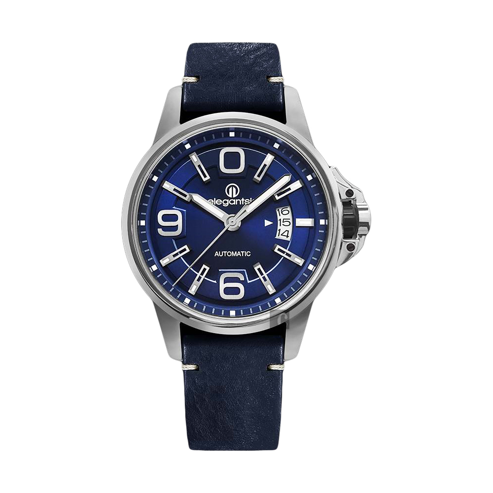 elegantsis JT55A 復古潮流機械腕錶-藍/44mm