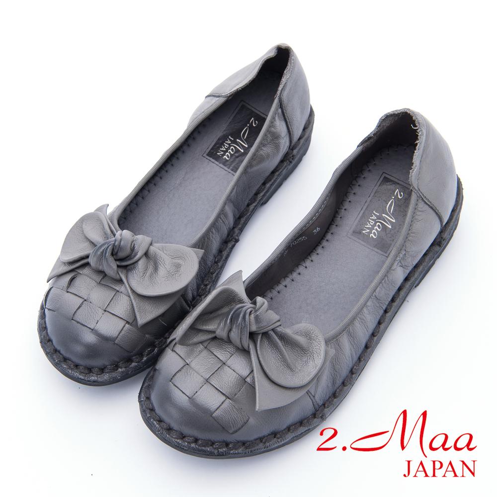 2.Maa - 可愛蝴蝶結菠蘿紋牛皮娃娃鞋 - 灰