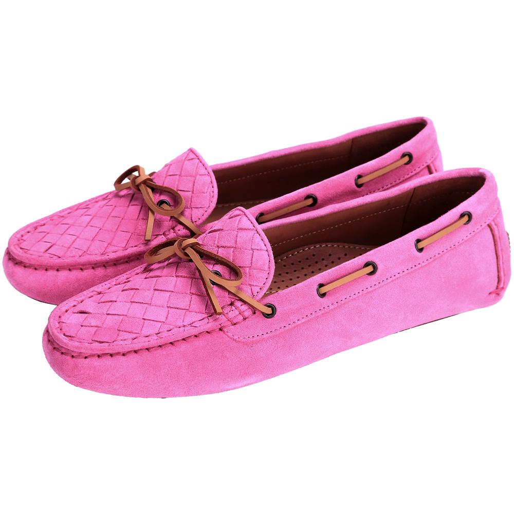BOTTEGA VENETA 麂皮編織綁帶莫卡辛鞋(桃紅色)