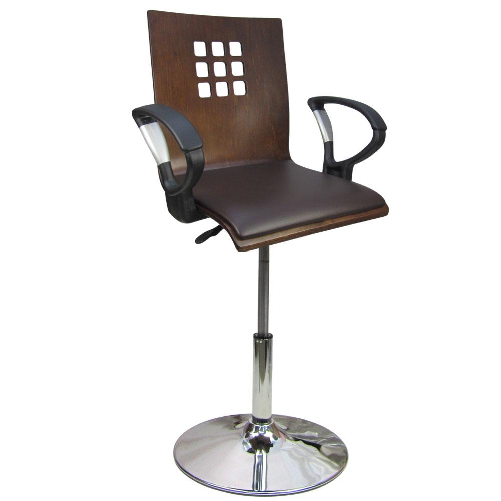 邏爵家具 九宮格寬曲木皮墊低吧椅/洽談椅/電腦椅