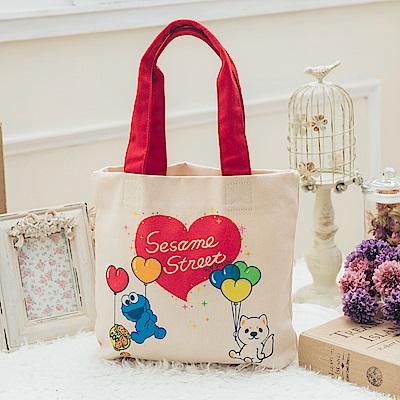 MARC ROCOOX芝麻街聯名款-心心相印帆布購物袋-8011