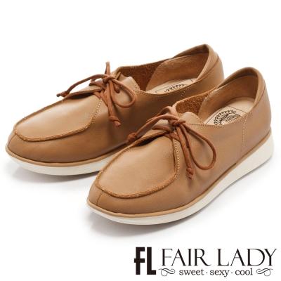 Fair Lady Soft Power 軟實力 率性百搭男孩風帆船綁帶鞋 棕