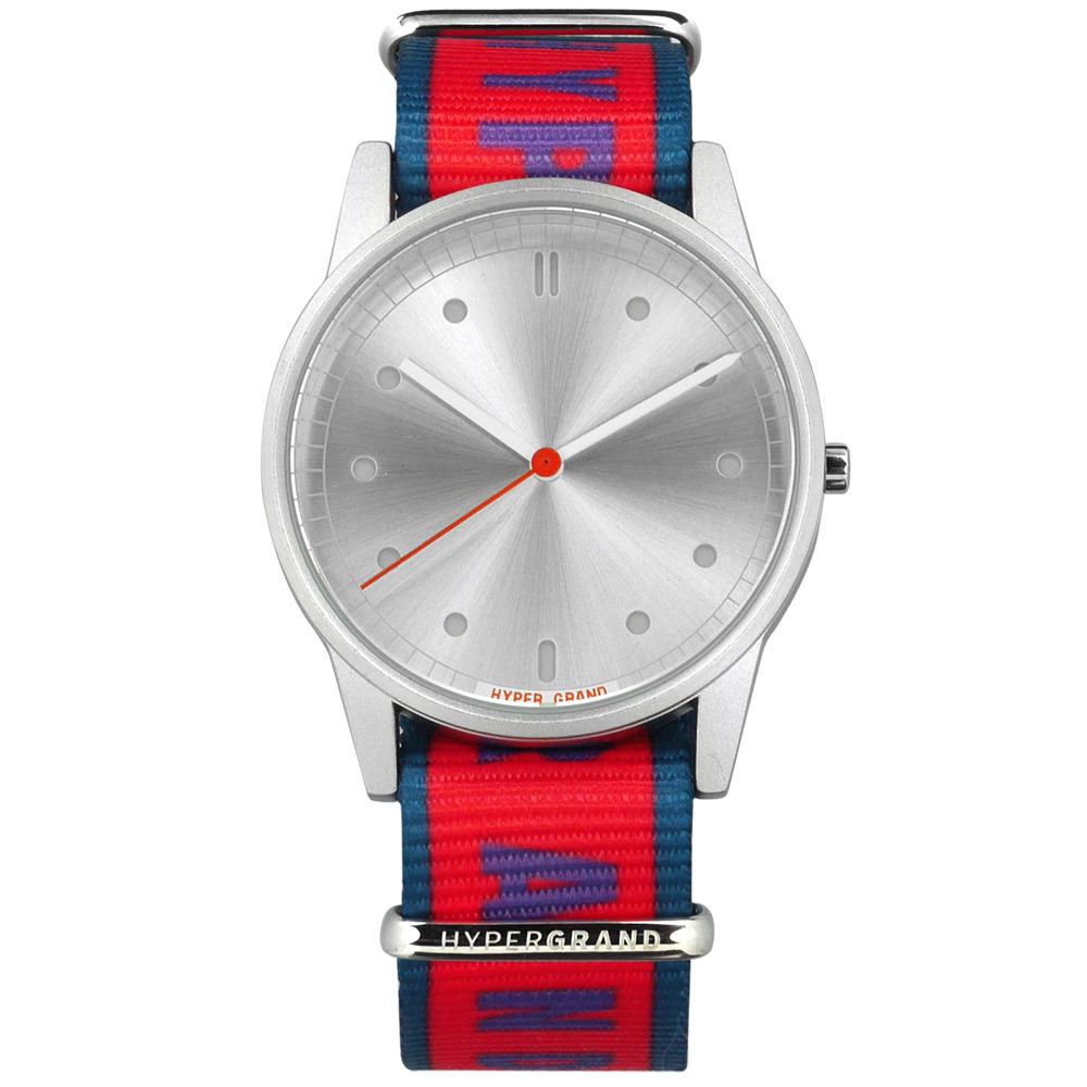 HyperGrand LO-FI 首創印花設計 極簡面板 尼龍手錶-銀x紅藍/38mm