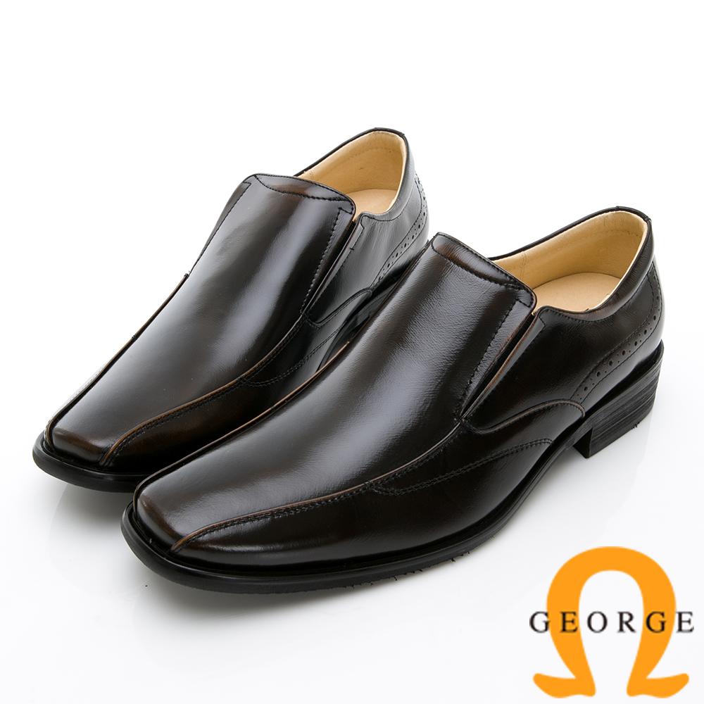 GEORGE 喬治-時尚職人系列 經典素面小方楦直套式紳士鞋皮鞋-古銅