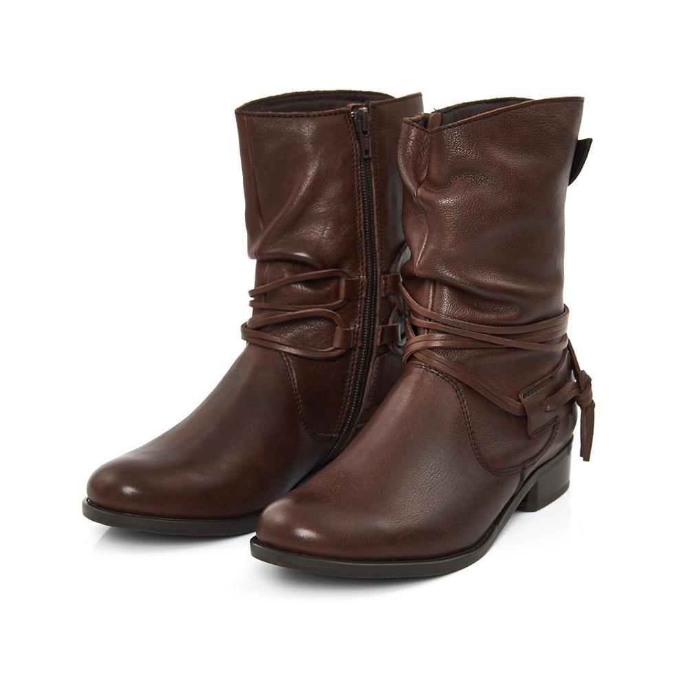 TAS 繫踝綁帶抓皺牛皮中筒靴-個性咖