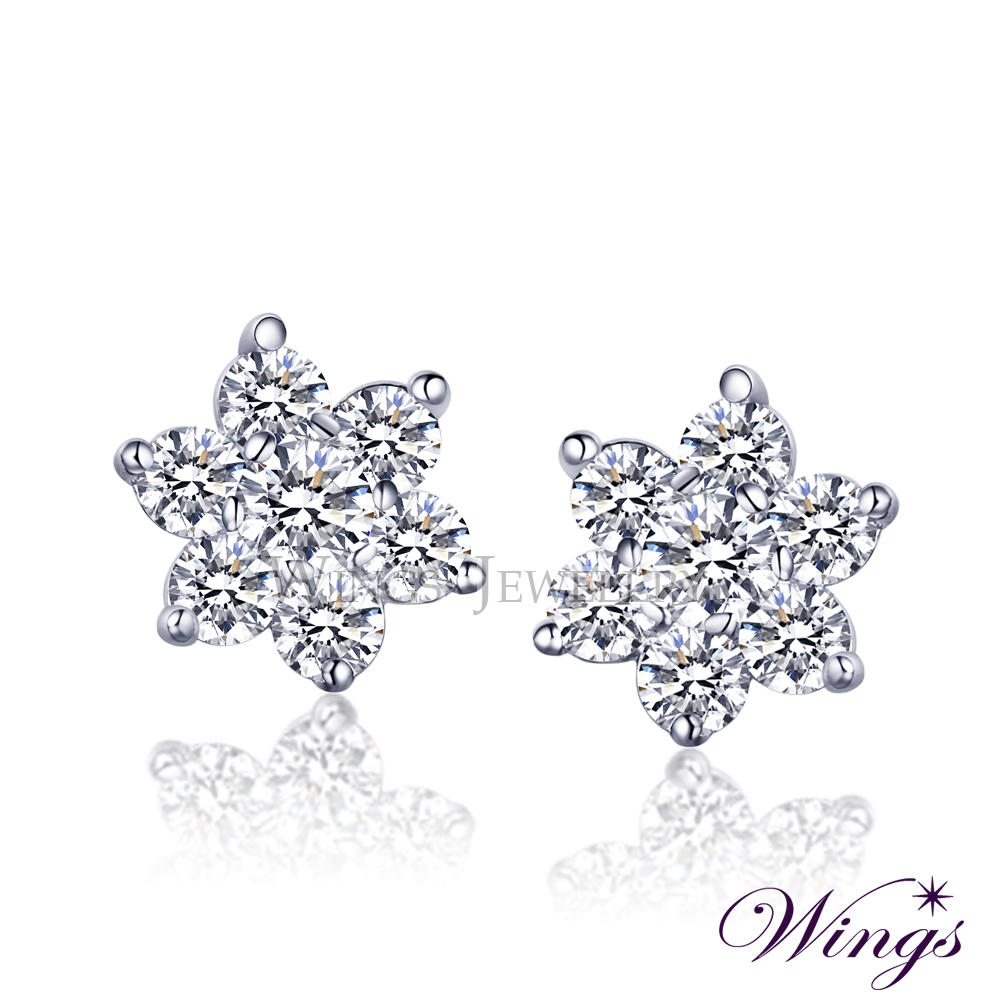 Wings 甜美花戀 精緻秀氣方晶鋯石美鑽耳環