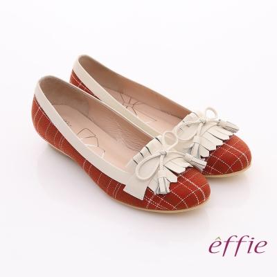 effie 慵懶英倫 格紋流蘇細蝴蝶飾楔型鞋 紅