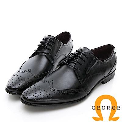 GEORGE 喬治-商務系列 雕花綁帶紳士皮鞋-黑