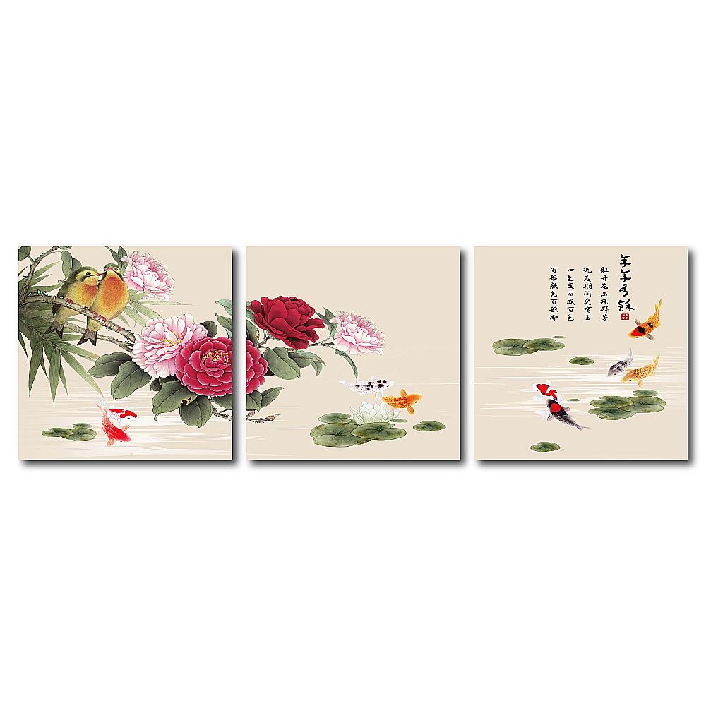 24mama掛畫 - 三聯式油畫布無框圖畫藝術家飾品- 牡丹花品 60x60cm