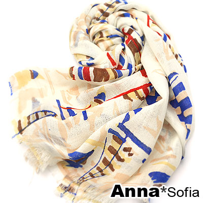 AnnaSofia 帆船塗鴉 薄款純羊毛圍巾(藍黃米)
