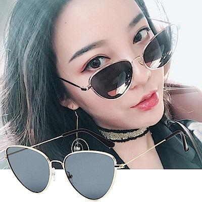 BeLiz 金框貓眼 透視炫色時尚墨鏡 金框黑