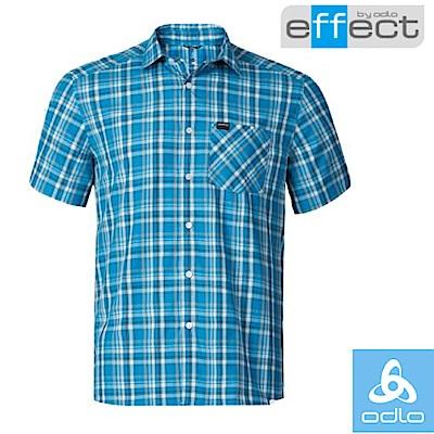 【瑞士 ODLO】男款 輕量級銀離子快乾格子短袖襯衫_寶藍/墨黑格紋