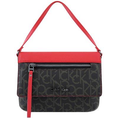 Calvin Klein 黑色LOGO PVC手提包