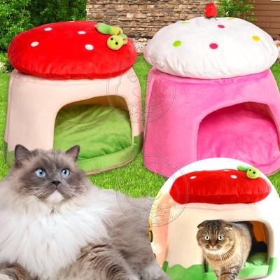 DYY~保暖可愛蘑菇圓型寵物睡窩顏色 ~46~46~38cm