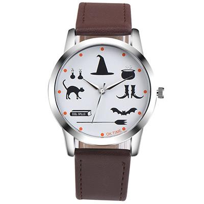 Watch-123 魔法學園-驚奇童趣神秘符號學生手錶-深咖/37mm