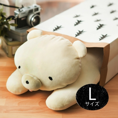 MOCHIKUMA 懶人麻吉熊L抱枕(米白)