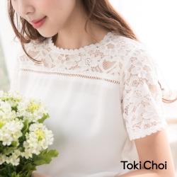 東京著衣 蕾絲透膚拼接雪紡上衣-S.M(共一色)