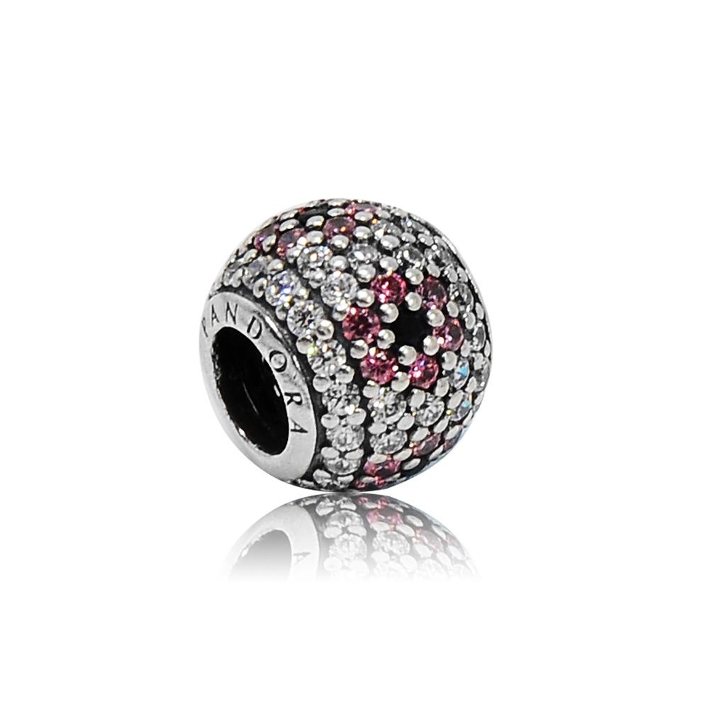 Pandora 潘朵拉 圓形鑲鋯桃紅色花朵 純銀墜飾 串珠