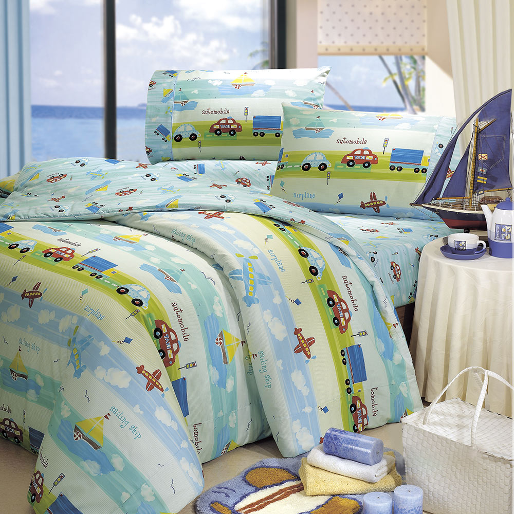 鴻宇HongYew 100%美國棉 防蹣抗菌-夢想號 薄被套床包組 雙人四件式