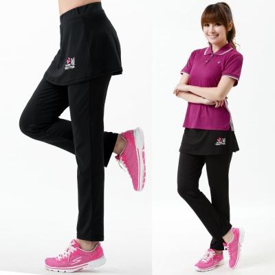 【遊遍天下】MIT台灣製抗UV彈性假兩件式休閒長褲P127黑色