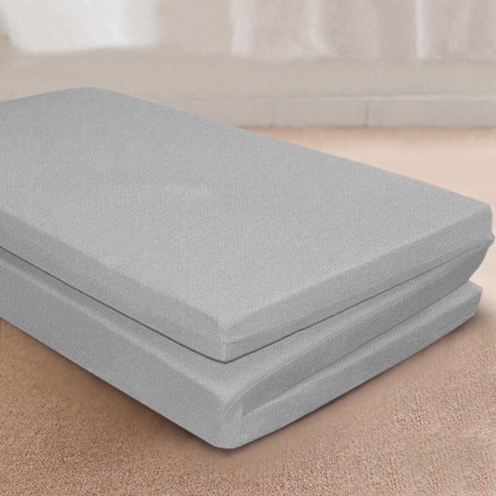 (好康)台灣製 3M單人8公分吸濕透氣蜂巢式三折床墊組-灰