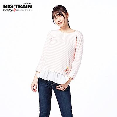 BIG TRAIN 條紋荷葉擺七分袖-女-粉紅
