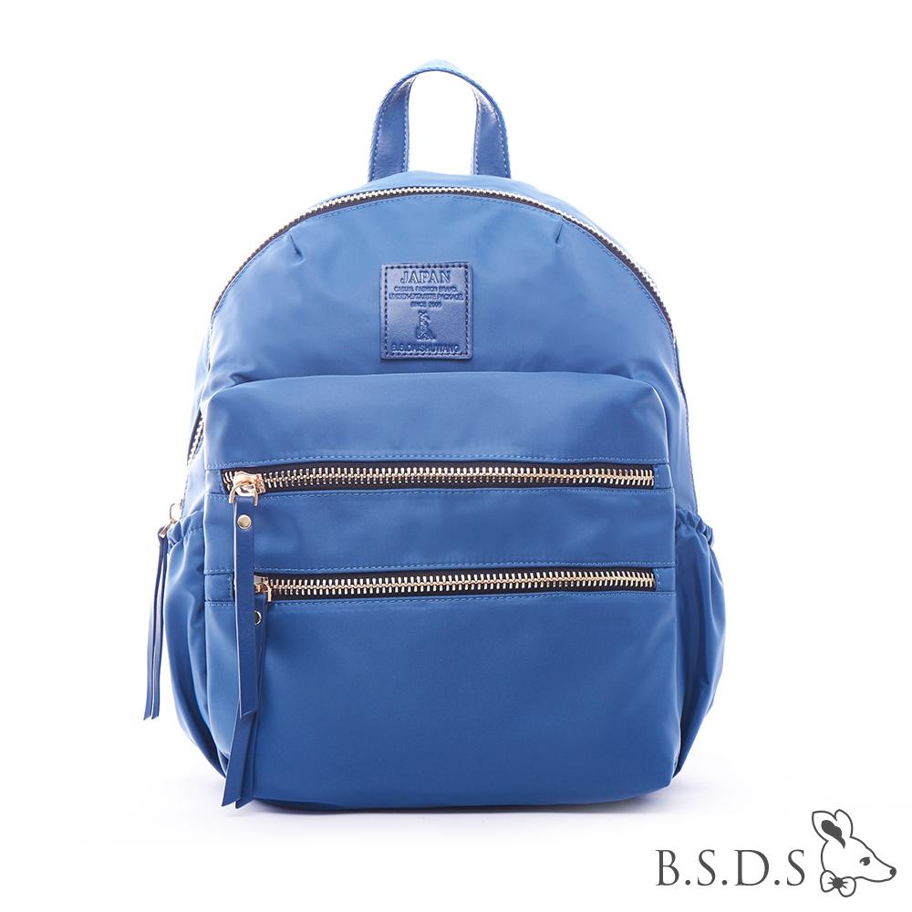 B.S.D.S冰山袋鼠-日系帆布x歐美簡約抗皺布拉鍊後背包-香草藍