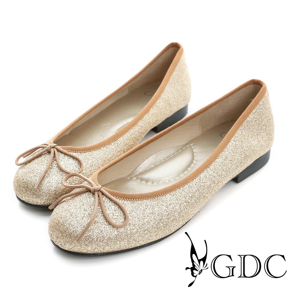 GDC-優雅閃料蝴蝶結圓頭平底娃娃鞋-古銅色