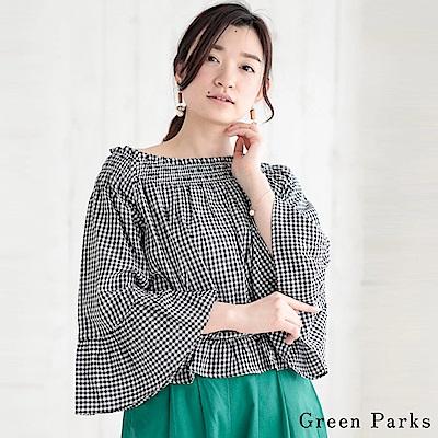 Green Parks 喇叭寬袖格紋鬆緊腰上衣