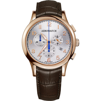 AEROWATCH Grace優雅風範三眼計時腕錶-銀x玫瑰金框/鱷魚紋/42mm
