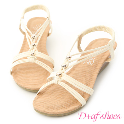 D-AF-溫柔夏風-交叉編織帶串珠楔型涼鞋-米