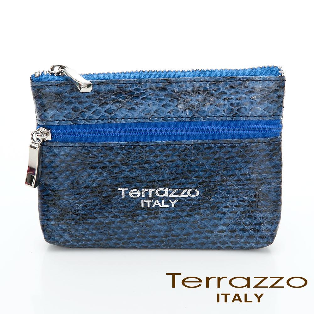 義大利Terrazzo - 時尚蛇皮雙層零錢鑰匙包-藍色73S1997A