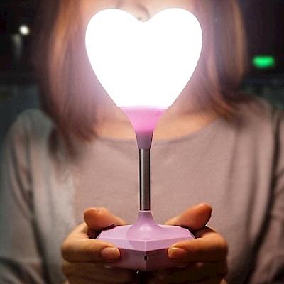 iSFun軟軟愛心 加長USB充電療癒觸碰桌燈夜燈 紫