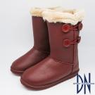DN 暖冬必敗 暖暖毛茸滾邊鈕扣中筒靴 紅