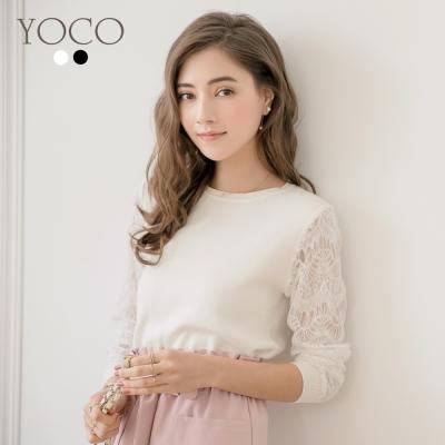 東京著衣-yoco 法式優雅蕾絲拼接袖針織上衣-S.M.L(共二色)