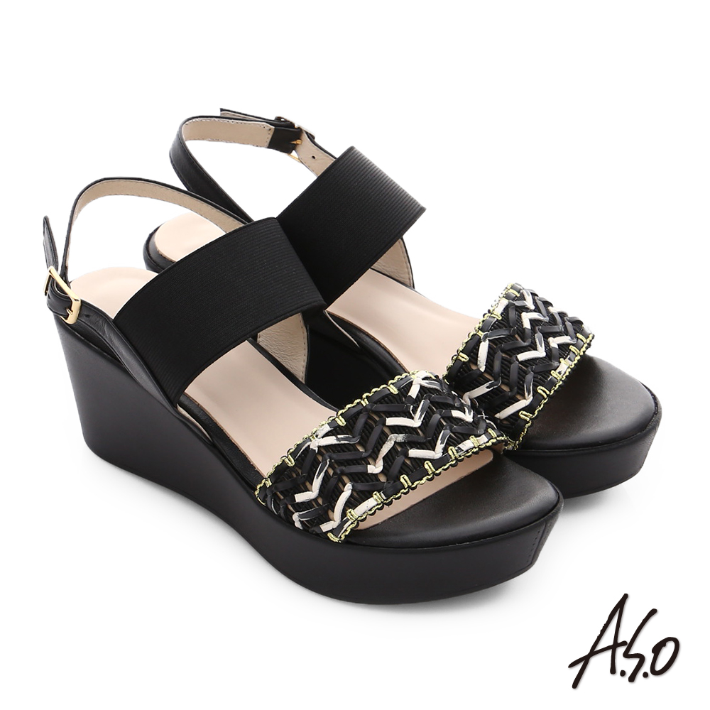 A.S.O 嬉皮假期 全真皮編織彈力綁帶楔型厚底涼鞋 黑色