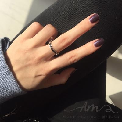 AM輕飾品 經典鍊條純銀戒指 開口戒 活圍戒